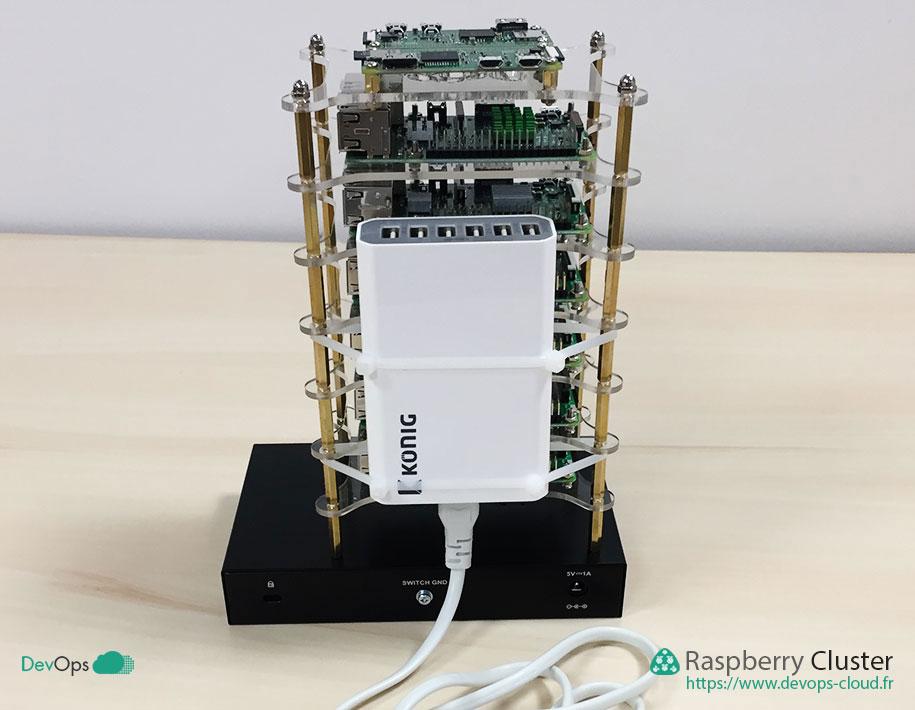 Raspberry Cluster - chargeur USB vue de derrière